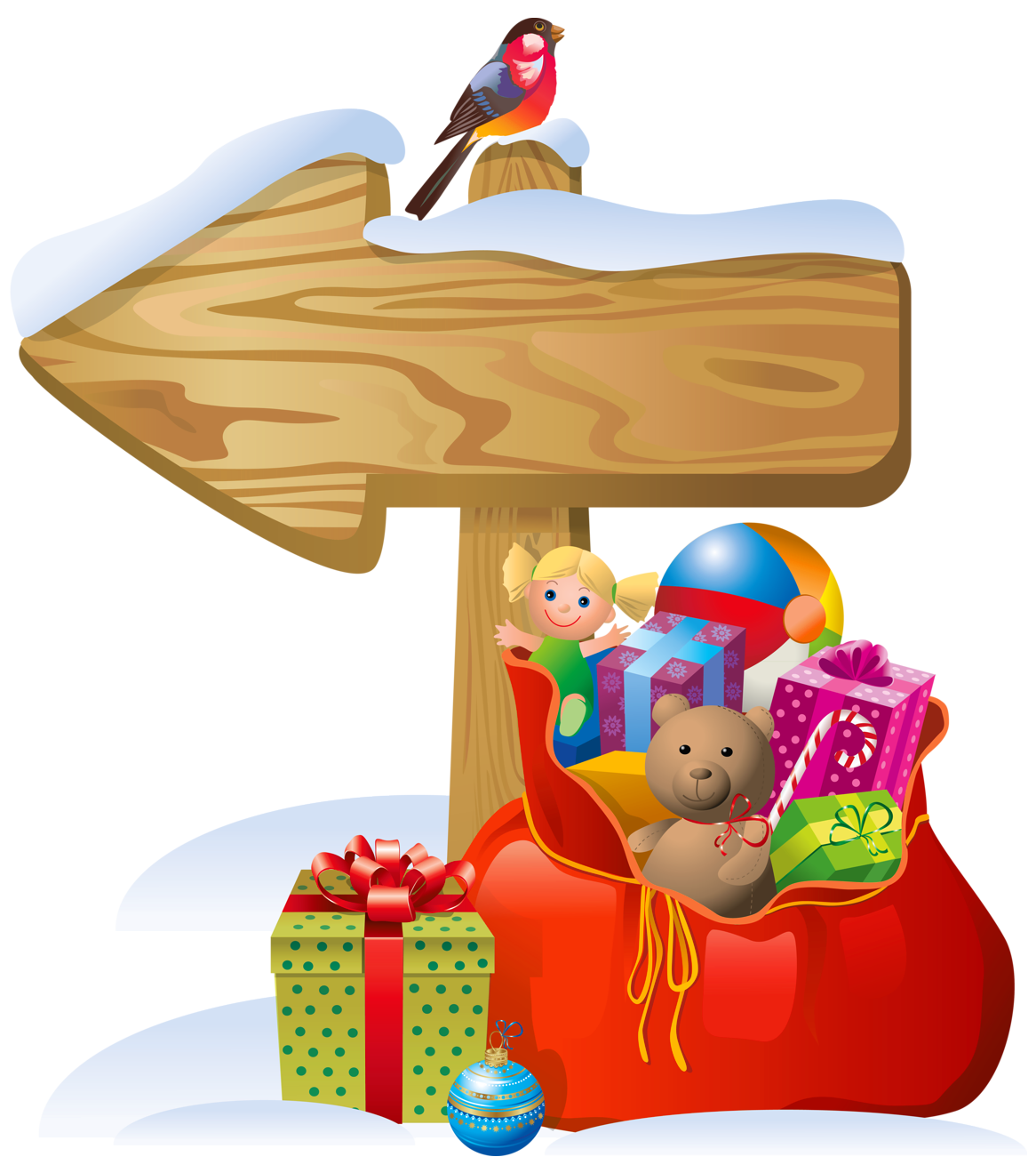 Transparent_Christmas_Sign_and_Santa_Bag_PNG_Clipart.png