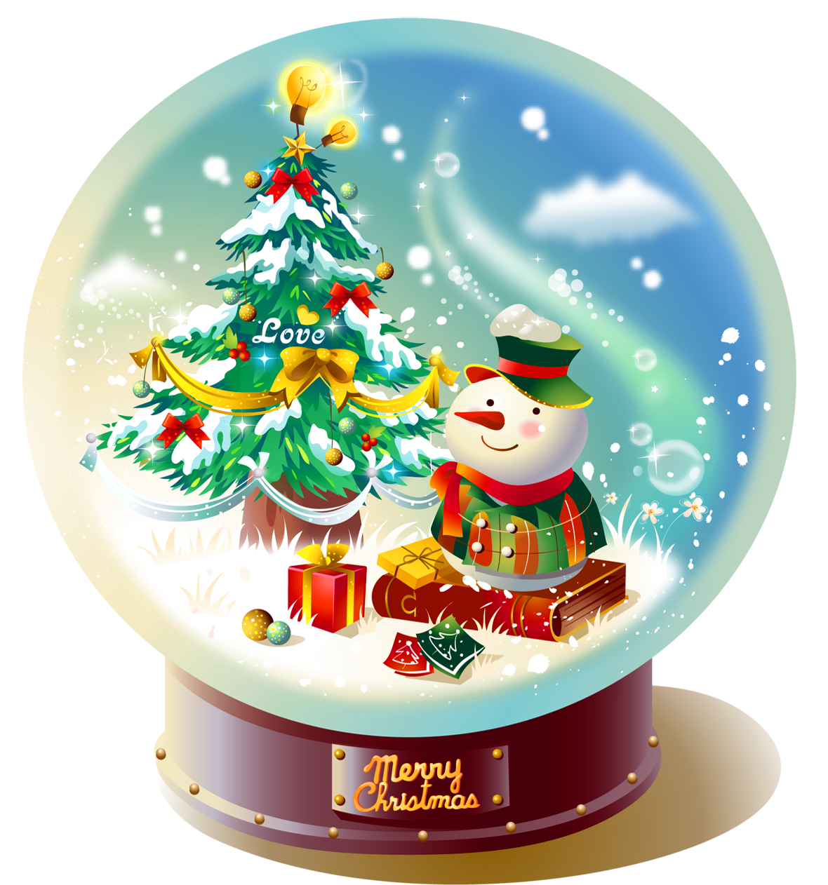 Transparent christmas snowglobe with snowman png picture png